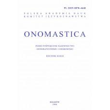 Onomastica XXXIX