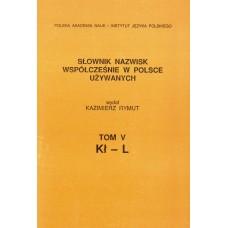 Słownik nazwisk, t. V: Kł-L, Kazimierz Rymut