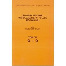 Słownik nazwisk, t. VII: O-Q, Kazimierz Rymut