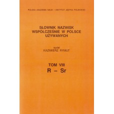 Słownik nazwisk, t. VIII: R-Sr, Kazimierz Rymut