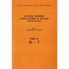 Słownik nazwisk, t. IX: St-T, Kazimierz Rymut